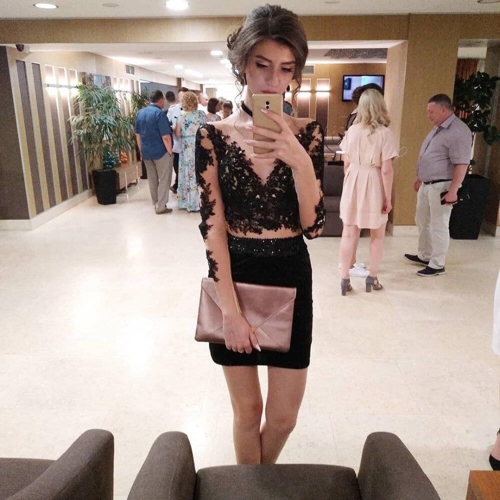 Cocktail Dresses Plus Size Mermaid Long Sleeve Short Black Evening Prom Dress 2019