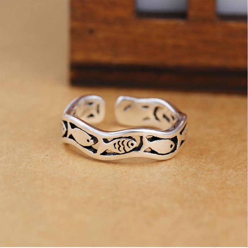 Anenjery 925 סטרלינג כסף טבעות לנשים תאילנדי כסף חמוד דגי גל פתיחת אצבע טבעת S-R270