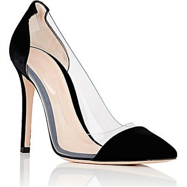 26292ea22a6 Wedding Shoes Black Velvet Zapatos Mujer Feminino PVC Pumps Clear Patent  Leather Featuring Shoes Heels Color Block Shoes Women