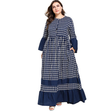 Blue Lady Islamic Clothing Arabic Dress Wave Print Ruffle Hem Flare Sleeve Button Up Breast Feeding Long Dresses Vestidos 4XL
