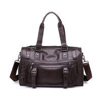 IMIDO Wellvo Men PU Leather Business Duffle Handbag For Male Fashion Round Bucket Travel Handle Bag Shoulder Casual Tote Solid