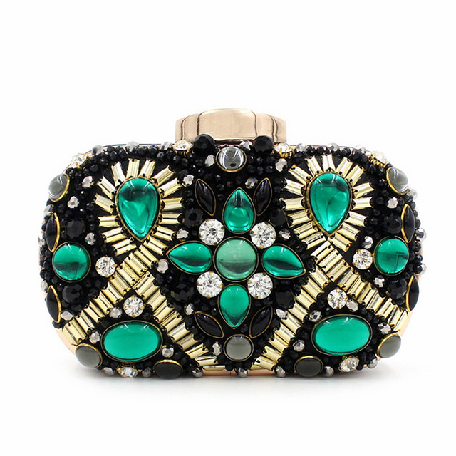 Handmade Luxury Crystal Beaded Clutch Bag Vintage Women Evening Bag green/blue/red Wedding Party Handbags Clutches Purse JXY788