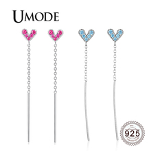 UMODE 2019 New 925 Sterling Silver Long Link Chain Heart Drop Earrings for Women White Gold Red Blue CZ Zircon Jewelry ALE0619 цена