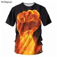 Cool Design Fire Flame Hand Fist 3D Print T shirt Men/Women Hipster Tee Tshirt Boys Hiphop Crewneck T-shirt Tees Big size 7XL