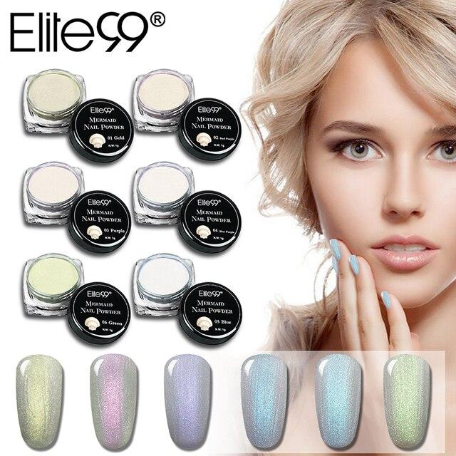 Elite99 1g Perle Shell Schimmer Pulver Meerjungfrau Nagel Glitter Pulver Schimmer Ziemlich Schimmer Glitter Nail art Dekorationen 6 Farben