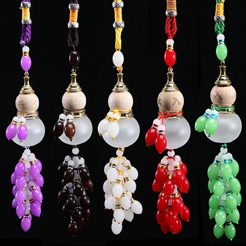 Car Pendant Perfume Bottle Colored Beads Gourd Safe Glass Car