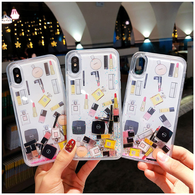 Luxury Makeups Perfume Quicksand Glitter Phone Case For iPhone 11 Pro MAX 6 6S 7 8 Plus case for iphone XS Max XR X XS cover