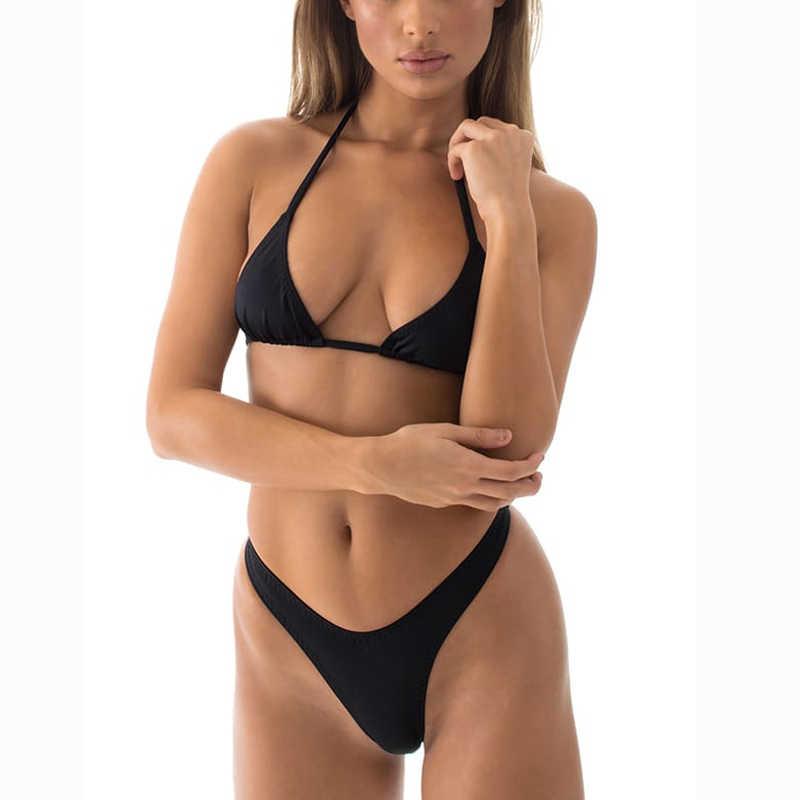 50c41daaaaf ... High Cut Thong Bikinis Women Cheeky T Back Bikini Set Tanga Bottom  Triangle Top Swimwear Biquine ...