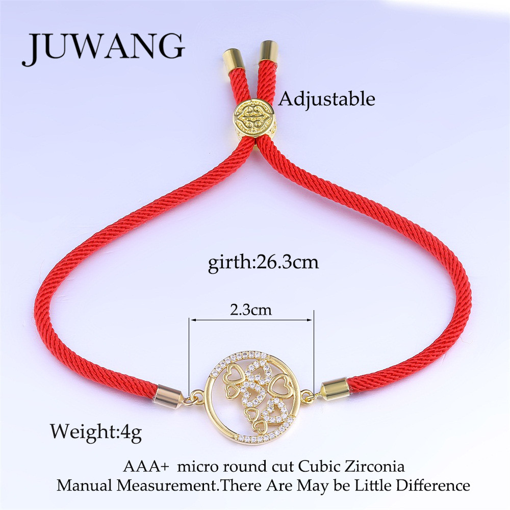 JUWANG Classic Round Heart Red Black Rope Bracelet for Woman Girl Red String CZ Bracelet Fashion Jewelry Friendship Gift in Charm Bracelets from Jewelry Accessories