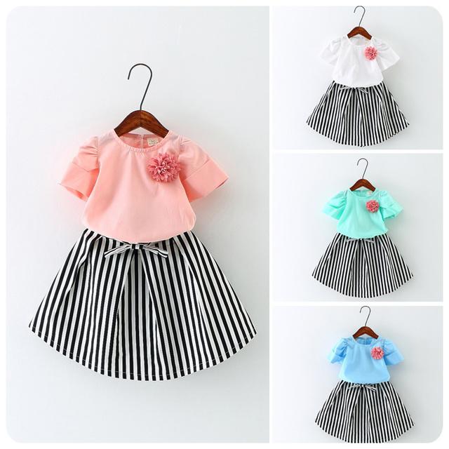 Patrón de Desgaste del verano 16 de La Muchacha ropa de Los Niños de Flores de Manga Corta T-Shirt Falda de La Raya 2 Unidades Traje de Niña Bebé de La Mariposa falda