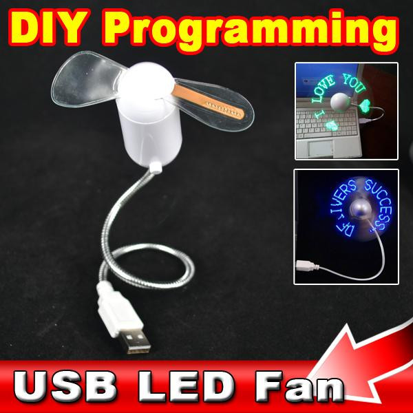 Fashion Hot USB LED FAN USB Gadget Red Light Flexible LED Cooler DIY USB Case Any Characters Messages Wordds for Laptop PC