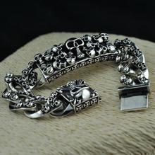 Pure Silver Sterling 925 Silver Vintage Skull Carved Chain & Link Lock S925 Bracelet