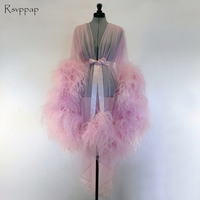 Long Evening Dress 2018 Sexy See Through Long Sleeve Feathers African Pink Women Formal Evening Gowns robe de soiree