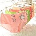 Ms algodão dos desenhos animados cuecas bonito cores doces em bolsos hip das mulheres grande edição roupa interior