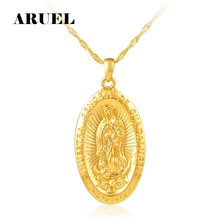 ARUEL African Metal Gold Color Blessed Virgin Mary Religion Necklace Women  Men Pendant Long Chain Friend Christian Jewelry Gift f0468f5555c6