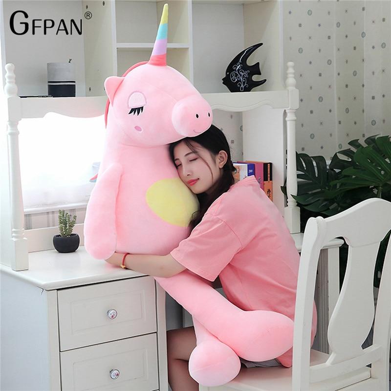 60-160cm Lovely  Unicorn Pillow Cushion Toys, Soft Cotton Animal Plush Toys, Stuffed Doll Baby Room Decoration Birthday Gift