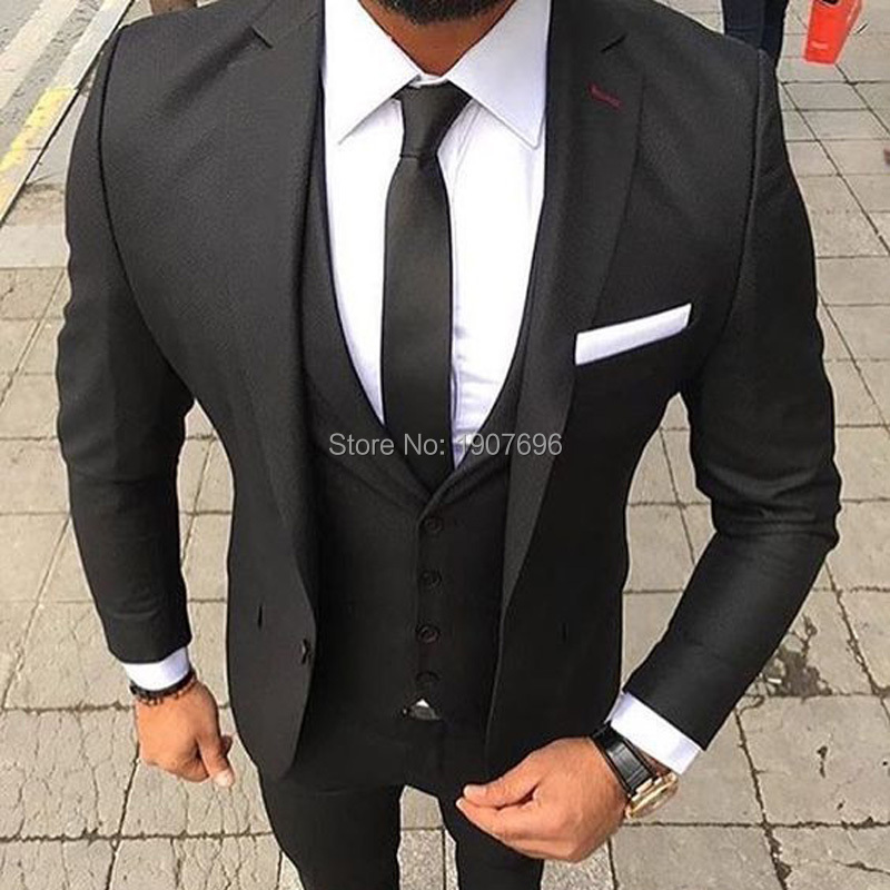Slim Fit Business Men Suits For Wedding Groom Tuxedos Latest Style Notched Lapel Black 3 Piece Male Jacket Pants Vest