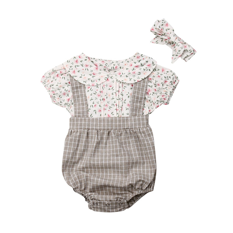 0-18M Newborn Kids Baby Girls Clothes Summer Short Sleeve Lace Bodysuit Elegant Cotton Sunsuit Cute Lovely Outfits