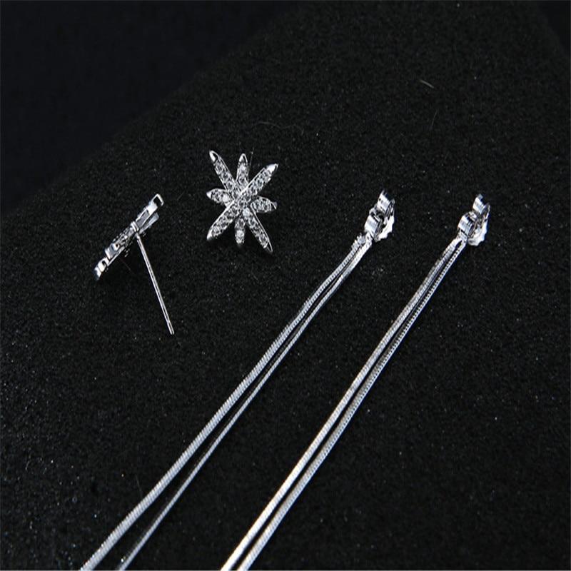 925 sterling silver Stud earrings M word tassel Set auger allergy Ladies fashion jewelry wholesale in Stud Earrings from Jewelry Accessories