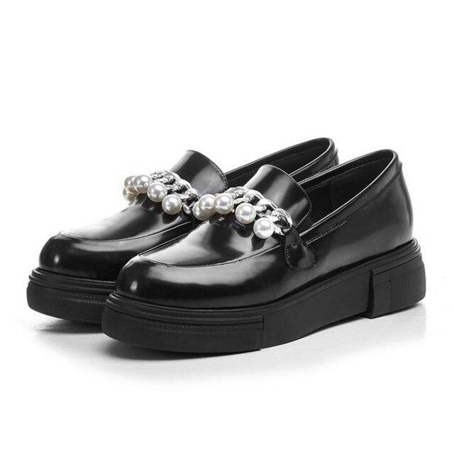 Preto Flats Oxfords Britânicos Sapatos Oxford Mulheres Primavera Couro PU Macio Plana Calcanhar Sapatos Casuais Slip-On Das Mulheres Sapatos brogues Retro