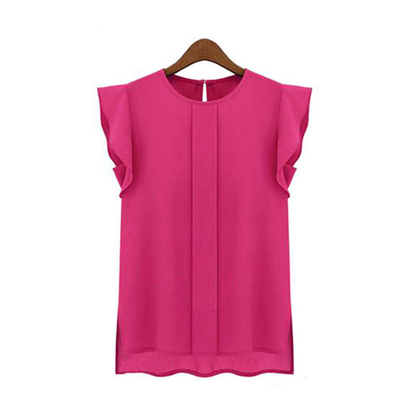 2018 Womail  Womens Casual Loose Chiffon Short Tulip Sleeve Blouse Polyester Spring Summer O-neck Shirt Tops summer blouses