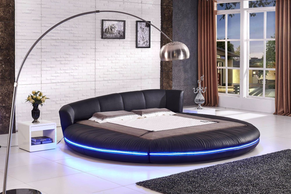 2017 Soft Bed Bedroom Furniture New Arrival Promotion No Genuine Leather Soft Bed King Cabecero Cama Folding Modern Round