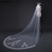 JaneVini 2018 Simple 3M Cathedral Long Wedding Veil Ivory One Layer Lace Applique Edge Bridal Veil With Comb Wedding Accessories