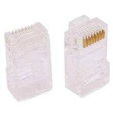 1000 stücke Kristall Kopf RJ45 Acht core 8P8C Kabel terminal Transparent Modulare Stecker Vergoldet Netzwerk Anschluss