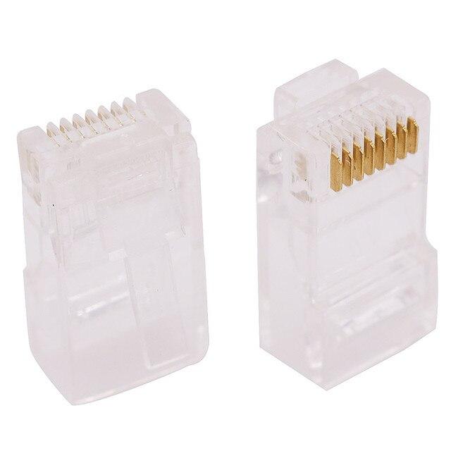 Terminal de Cable transparente con cabeza de cristal RJ45, 8 núcleos, 8P8C, enchufe Modular, conector de red chapado en oro, 1000 Uds.