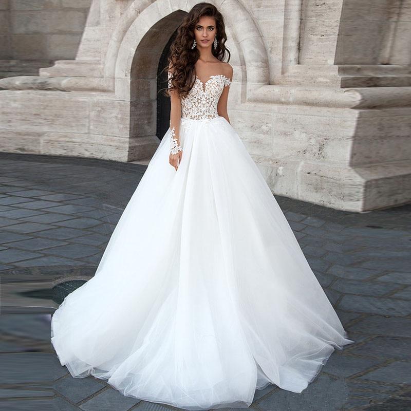 arrival sweetheart sexy open back a line long sleeve wedding dresses