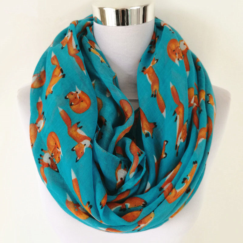 New Fashion Fox Infinity Scarf Animal Scarf Små Fox Scarves i Long Scarf Fox i Tan Shawls Hot Sale Women Neckerchief