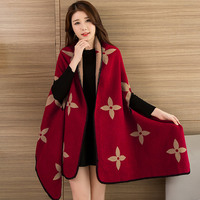 Fashionable Ladies Winter Scarf Blanket Print Women Poncho Warm Wool Ponchos And Capes Long Scarf Thick
