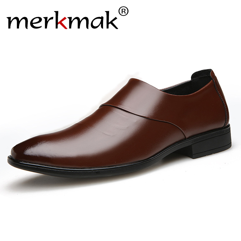 Merkmak 2019 New Spring Autumn Men's Leather Shoes Of The British Business Dress Men's Casual Shoes Set Foot Work Shoes