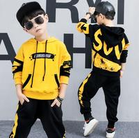 2 Pieces Big Boys clothing set cotton Fashion long sleeves hoodies + Haren Pants Yellow Black outfits For 6 8 10 12 14 Years