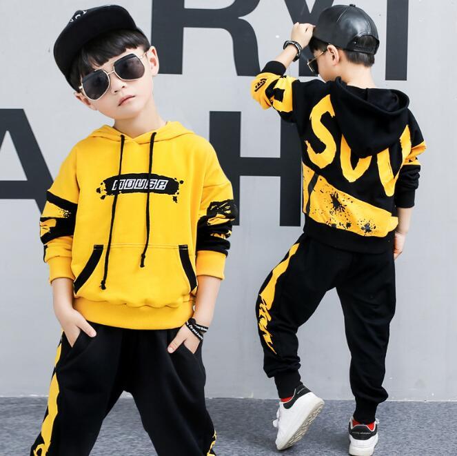 2 pieces גדול בני בגדי סט כותנה אופנה ארוך שרוולים נים + Haren מכנסיים צהוב שחור תלבושות עבור 6 8 10 12 14 שנים
