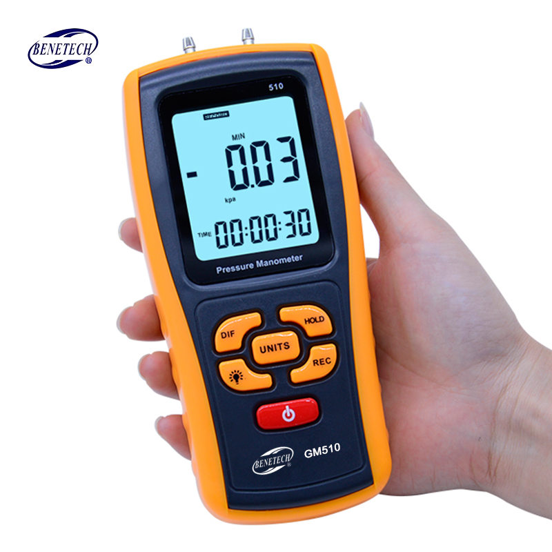 Portable Digital LCD display Pressure manometer GM510 50KPa Pressure differential manometer pressure gauge lson fingertip pulse oximeter