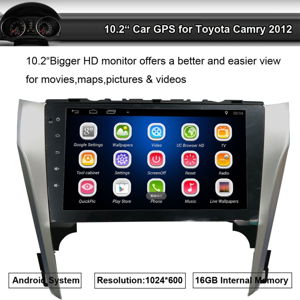 Android Car GPS Radio for Toyota Camry 2012 10.2 inch Touch Screen Quad-Core 1024*600,WiFi,Bluetooth A2DP,Smartphone Mirror-link