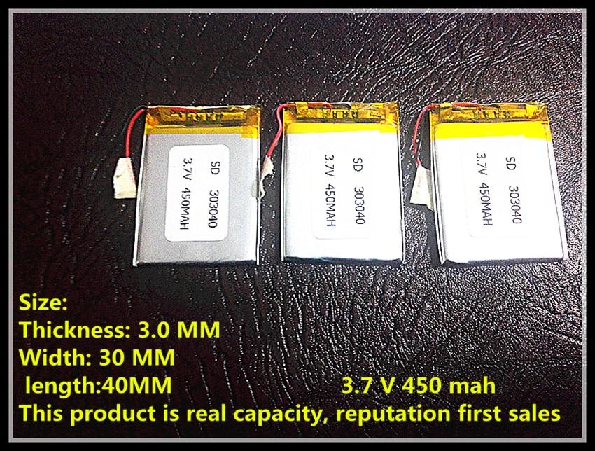 303040 033040 450mah 3.7V lithium polymer battery MP3 MP4 MP5 X30 free shipping 3 7v lithium polymer battery 052025 502025 180mah mp3 mp4 mp5