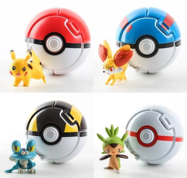 4pcs/set Pokeball Go Toys Pocket Monster Explosion Pokeball Pikachu Super Master Model Figure Toys 5 pcs lot cartoon anime wallet wholesale nintendo game pocket monster charizard pikachu wallet poke wallet pokemon go billetera
