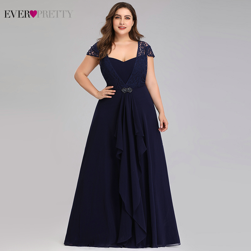 Navy Blue Lace Evening Dresses Plus Size Ever Pretty EP07986NB A-Line Cap Sleeve Beaded Elegant Formal Party Gowns Abiye 2020