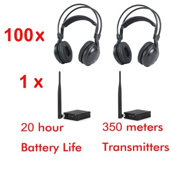 500m RF strong low bass classical silent disco headphones package ( 100 headphones and 1 transmitter)