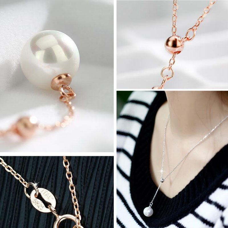 Yu Xin Yuan Fine Jewelry White Rose Gold Fashion Long Chain Necklace Charm Pendant Women Favourite Jewelrypalace