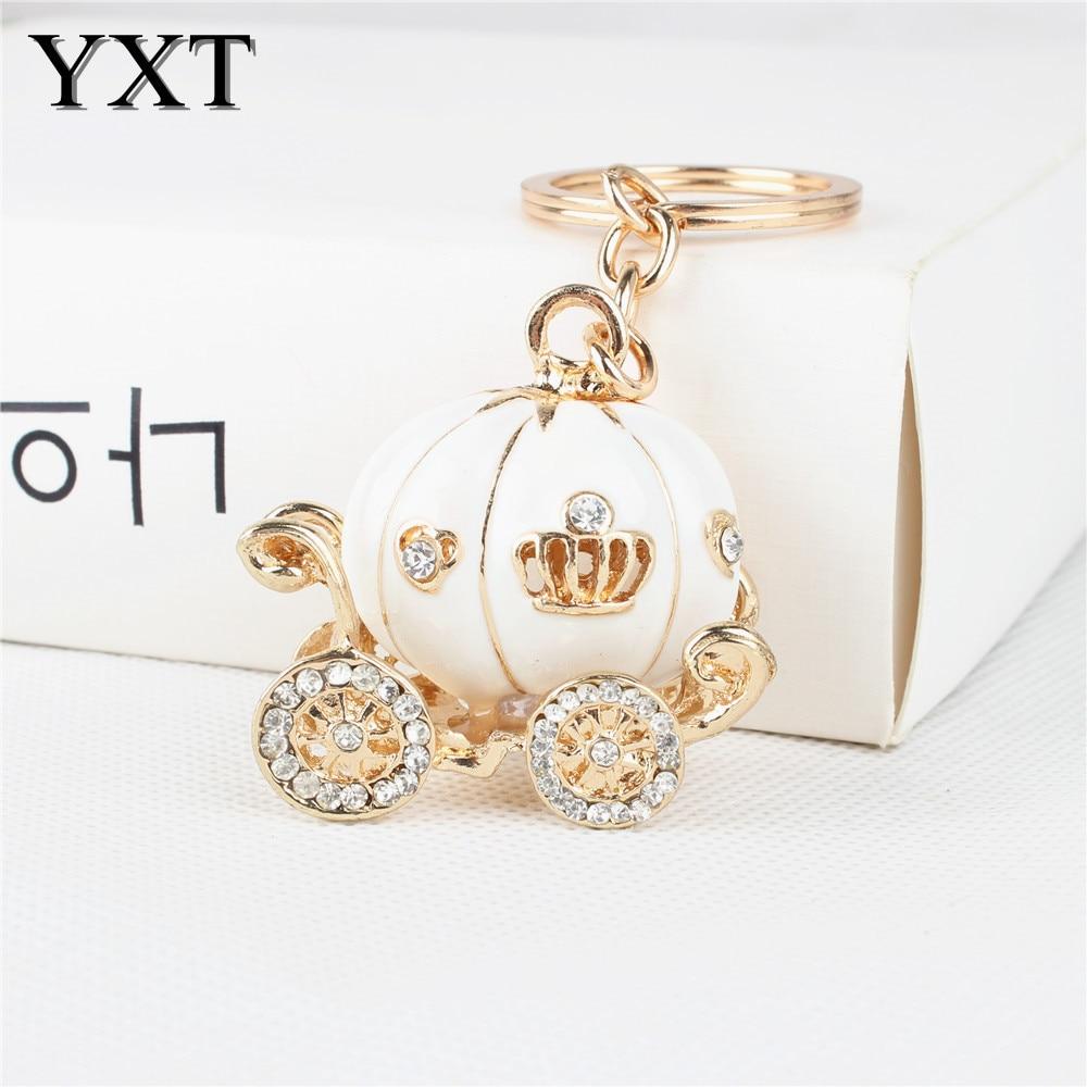 Lovely White Pumpkin Carriage Cute Crystal Charm Purse Handbag Car Key Keyring Keychain Party Wedding Birthday Good Gift