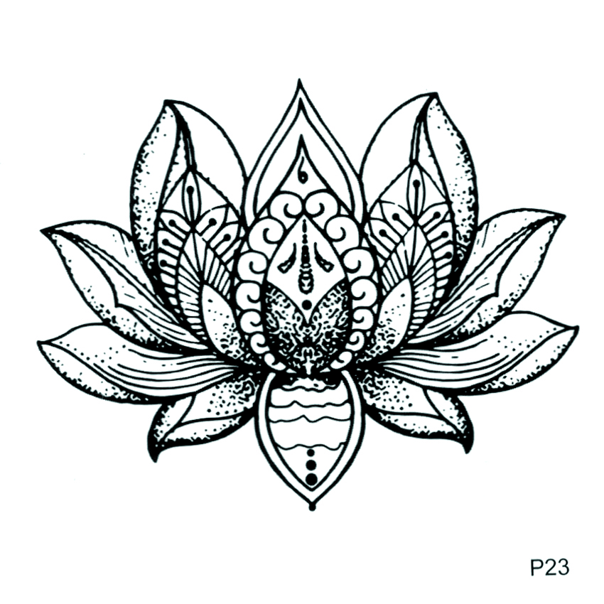 Lotus Waterproof Temporary Tattoo Sticker Flower Fake Tattoo For Men And Women Harajuku Beaty Flower Tatoo Sticker