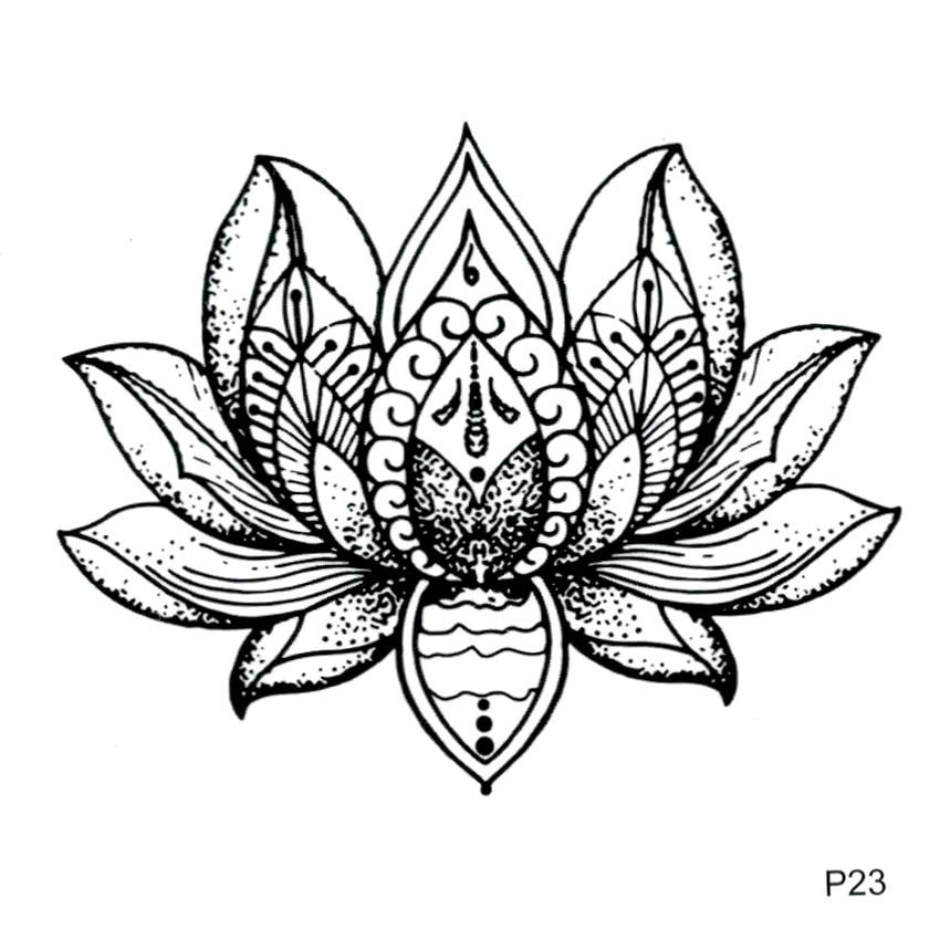 Lotus Waterproof Temporary Tattoo Sticker Flower Fake Tattoo For Men And Women Harajuku Beaty Flower Tatoo Sticker