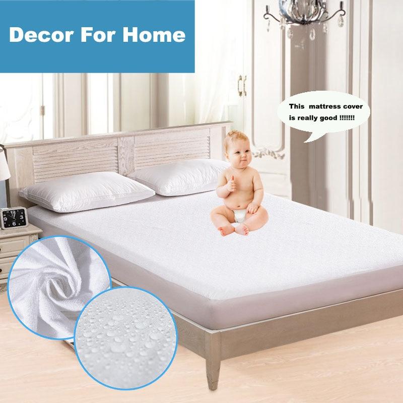 180X200 100% veekindel luksuslik terry madrats kaitsja hüpoallergeenne madrats kate hingav valge madrats pad voodi vea
