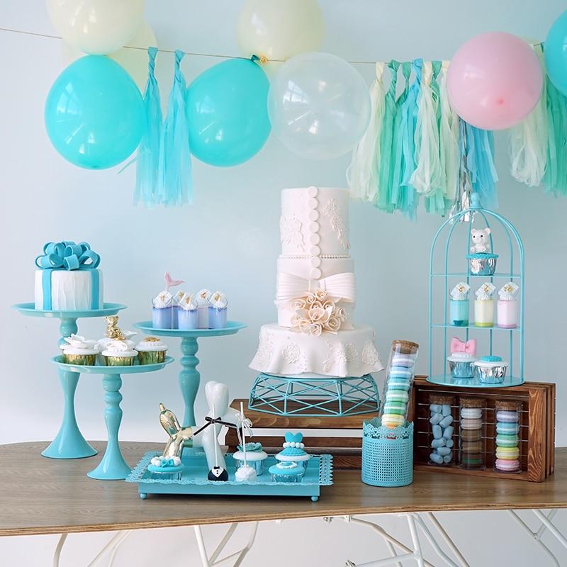 7 piezas de pie de pastel azul para bebé niño cumpleaños ducha cupcake soporte bandeja boda postre Mesa pops fiesta proveedor-in Soportes from Hogar y Mascotas    1