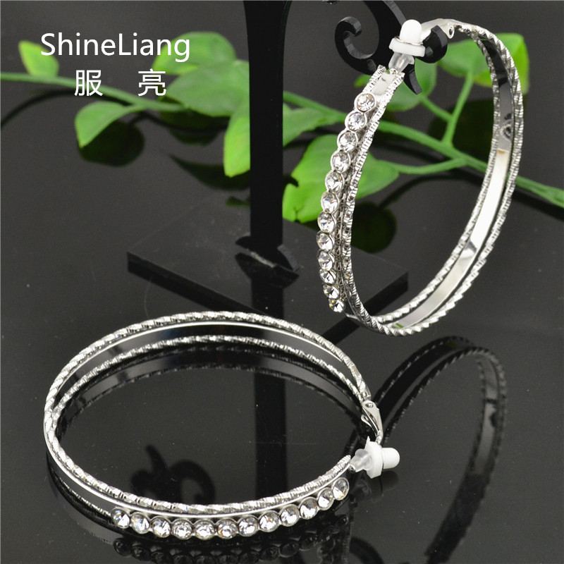 Shineliang 2018 Clip on the ear ring Without piercing Rhinestone Earrings for women Fashion female big gold silver round jewelry