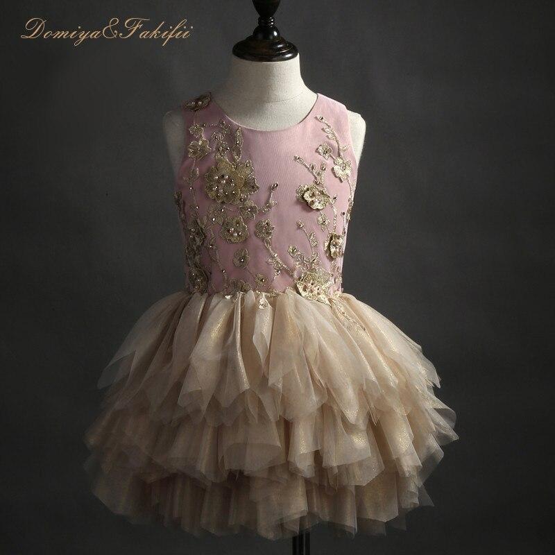 Stunning Pink Children First Communion Dresses for Girls 2018 Ball Gown Flower Applique Elegant Flower Girl Dress For Weddings flower applique grab bag