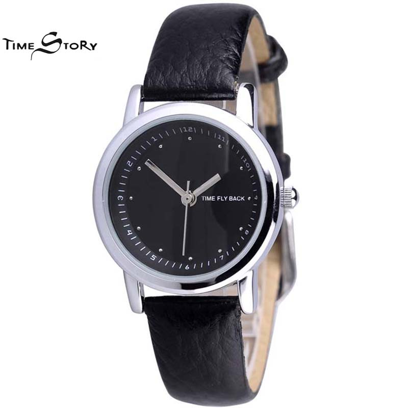 Brand TS Classic Casual Watch Women Anti clockwise Quartz Watch Ladies Dress Wrist Watches Leather Strap